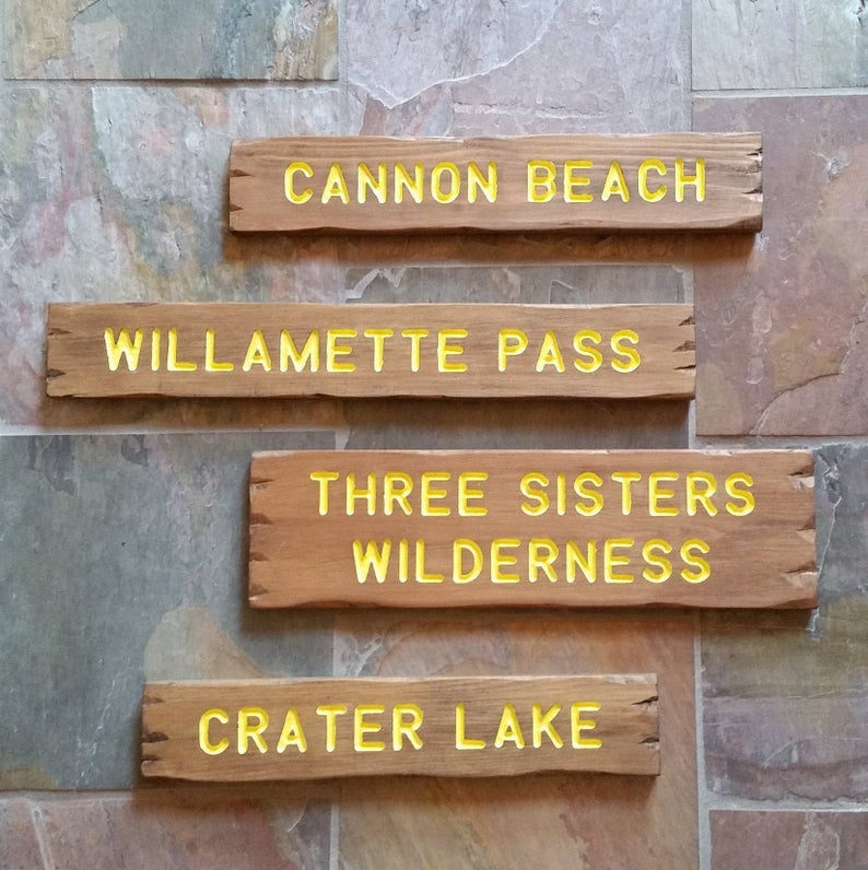 Outdoor Wooden Trail Sign