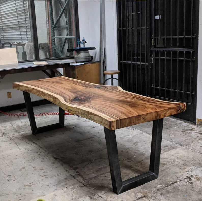 Wood Slab table with Steel Legs