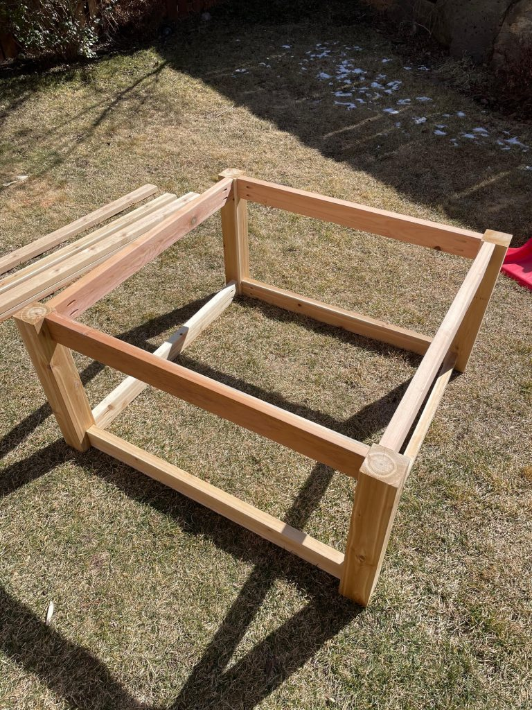 Corrugated metal raised garden frame